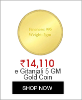 e Gitanjali 5 GM 24KT 995 Purity Plain Gold Coin BIS Hallmarked
