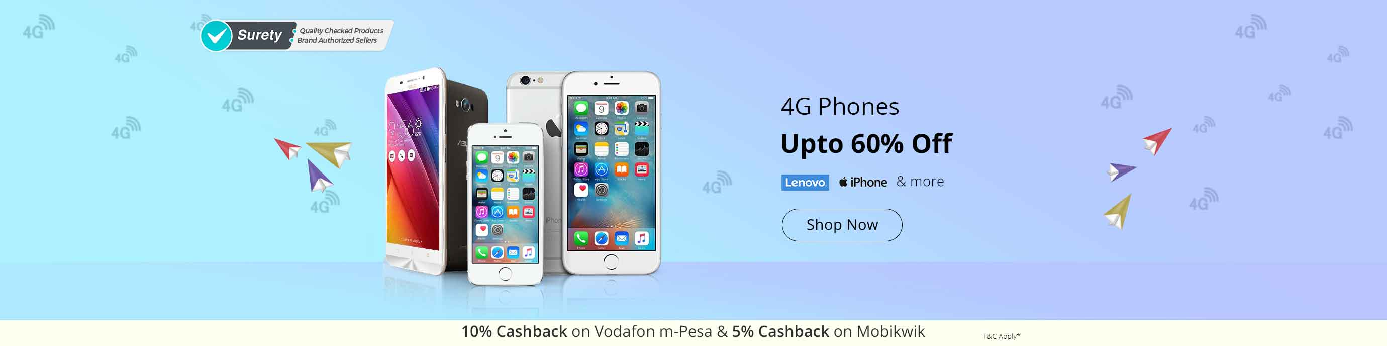 Lenovo, Iphone & more 4G Phone upto 60% off