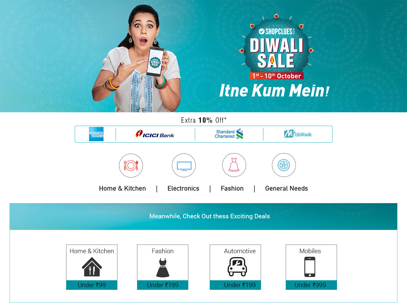 ShopClues Diwali Sale | 1st to 10th October, 2016 @ Shopclues – Others