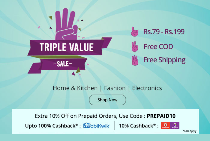 Shopclues: 3 Superhit Offers | Deals from Rs.79- Rs.199 + Free Shipping + Free COD