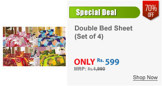 Set of 4 Double Bed Sheet with 8 Pillow Covers