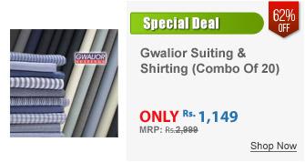 Gwalior Men's Suiting & Shirting Combo 10 Trouser 10 Shirt Fabric