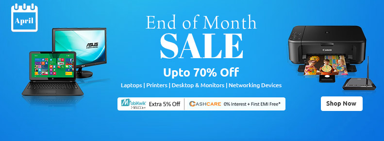 Shopclues End Of Month Sale - Upto 70% Off on Laptops, Printers, Desktops & More