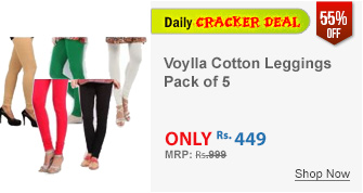 Pack of 5 Voylla Solid Pattern Cotton Leggings