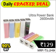 Ultra Power Bank 2600mAh 129 Rs @ shopclues