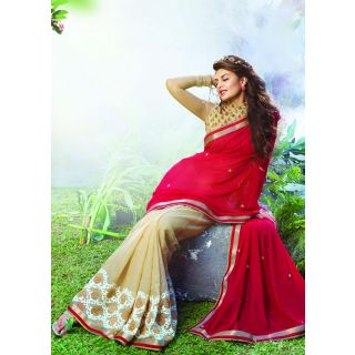 Colors Fashion Red And Chikoo Faux Georgette And Kota Checks Latest Designer Party Wear Heavy