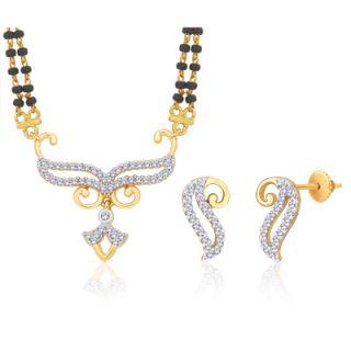 Peora 18 Karat Gold And Rhodium Plated Mangalsutra Set (Design 3)