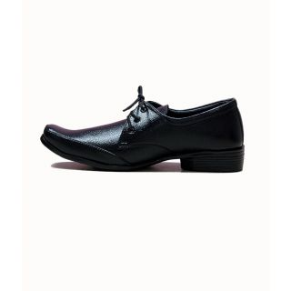 at classic official leather black formal shoes