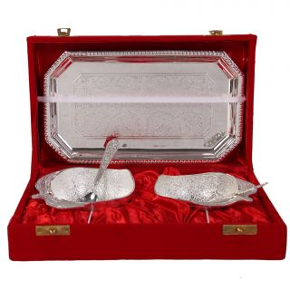 German Silver Set Of 2 Apple Shape Bowls With 2 Spoons And Tray