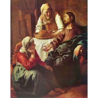 Christ With Mary And Martha By Vermeer - Museum Canvas Print