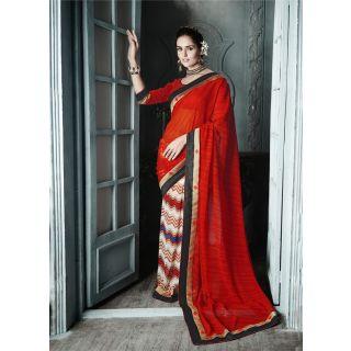 Magnum Opus Store Red Color Georgette Saree.