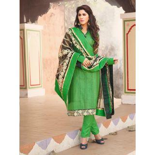 Magnum Opus Store Green Color Chanderi Cotton Straight Cut Suit.