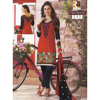 Promise Dresses - Red And Black Unstitched Suit With Dupatta