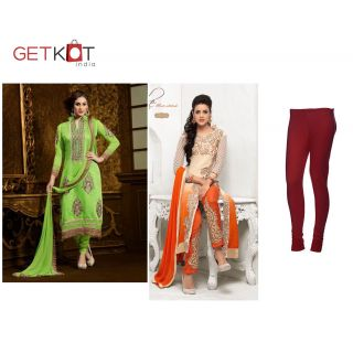 Combo Offer Designer Long Suit-party Wear Anarkali Suit-red Cotton Legging