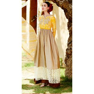 KFHub Cream Peach & Grey Long Anarkali Embroidered With Print Pure Cotton Satin