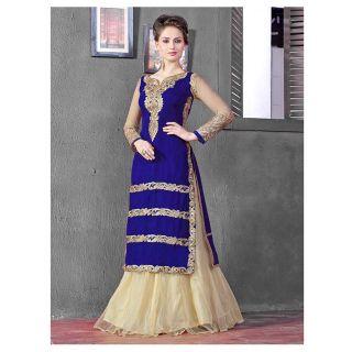 Thankar Latest Designer Heavy Blue And Cream Embroidery Indo Western Style Strai