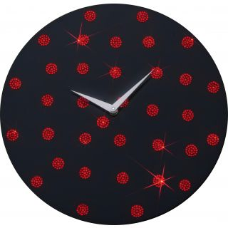 Zeeshaan Black Red Polka  Wall Clock