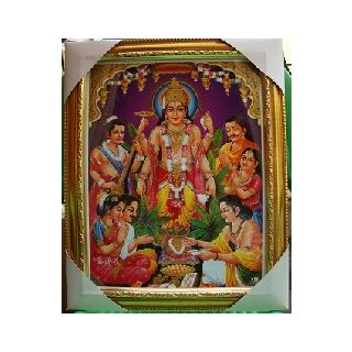 Shri Satya Narayan Bhagwan Sparkled Framed Photo With Free Aarti Book