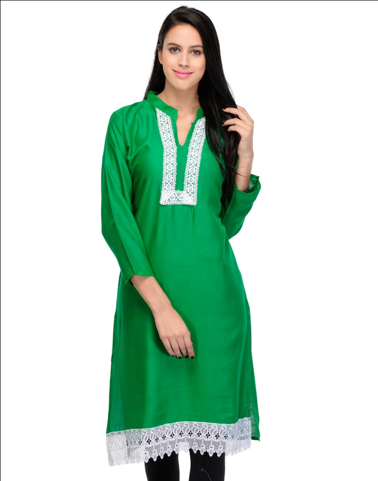 Online Designer Long Rayon Kurti With Embroidered Lace