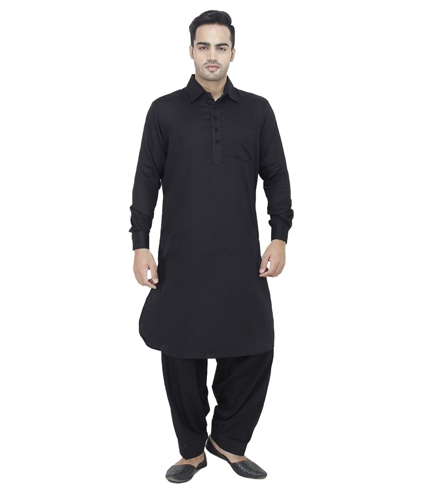 Buy Arzaan Creations Black Cotton Pathani Suit Online In