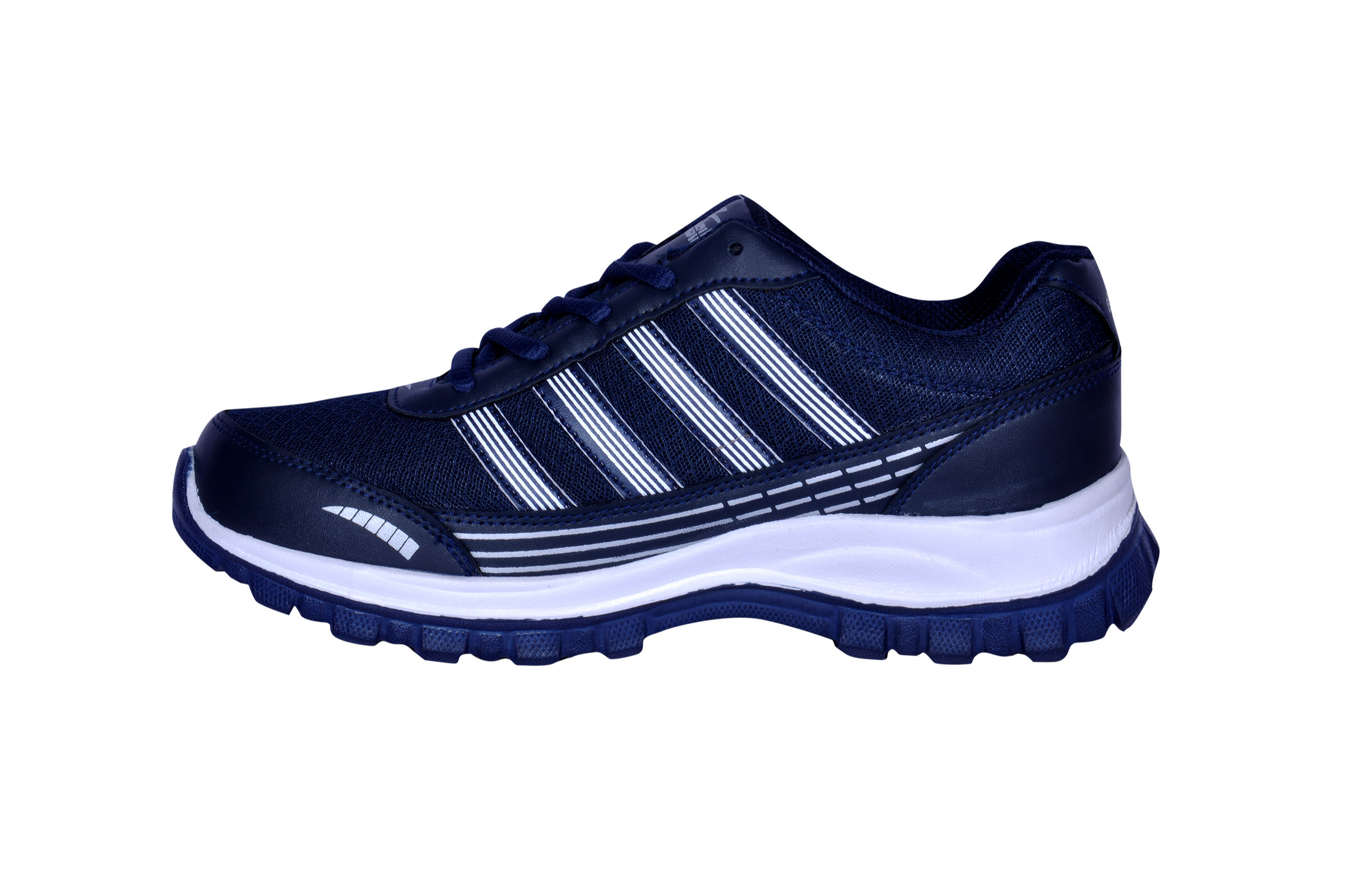 density navy blue and white sports shoes