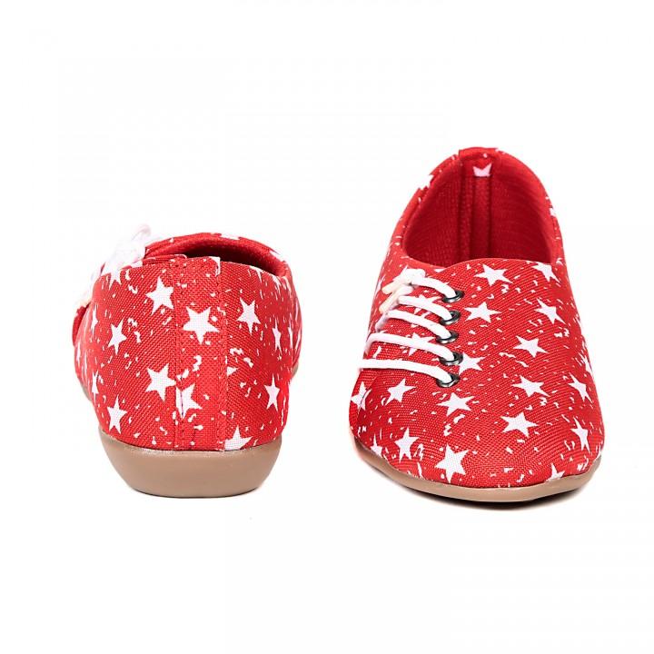 TEN Red Fabric Casual Shoes (TENSHOLCSTRRED01)