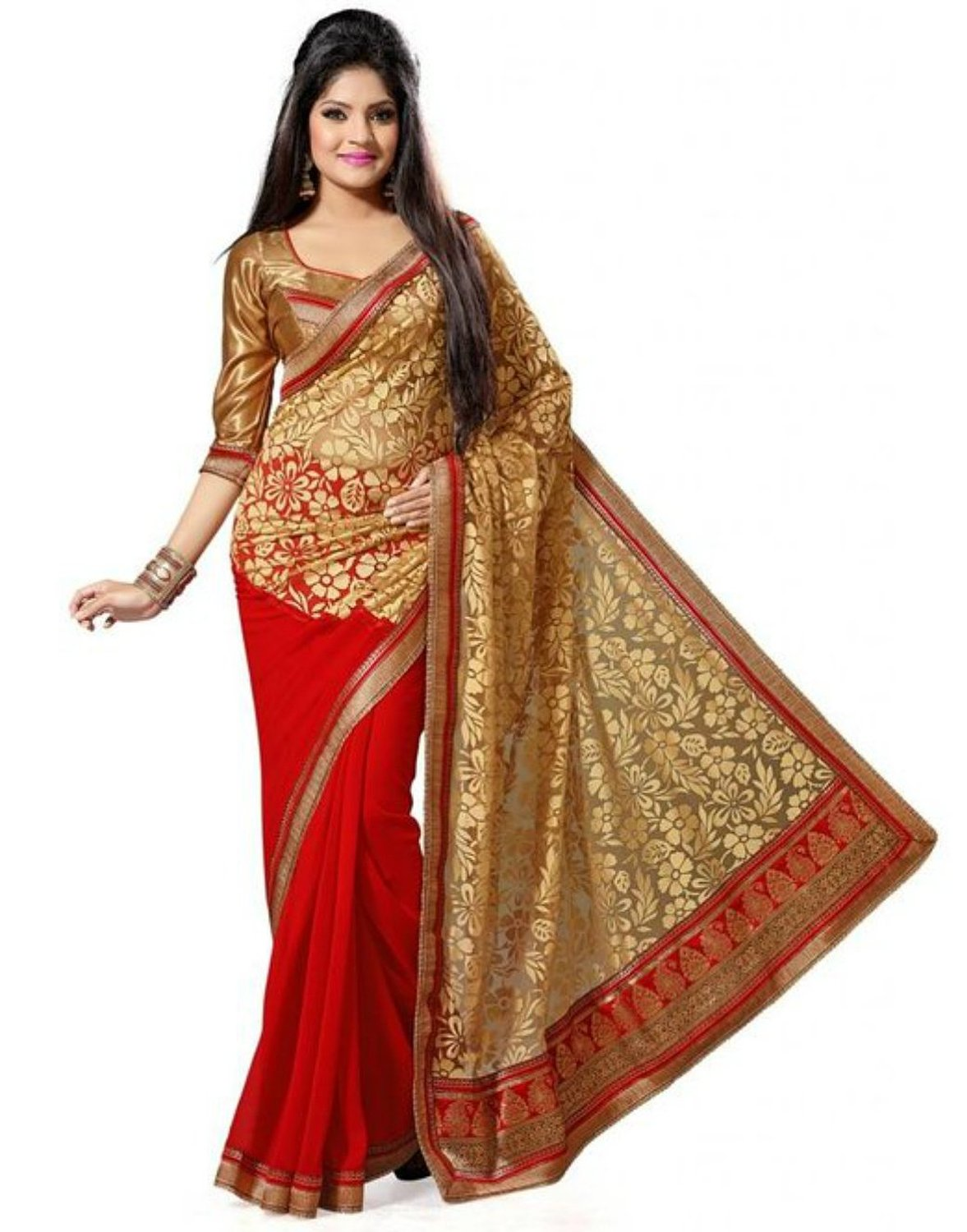 Buy Brasso Saree Jne0299red Online In India 85420364