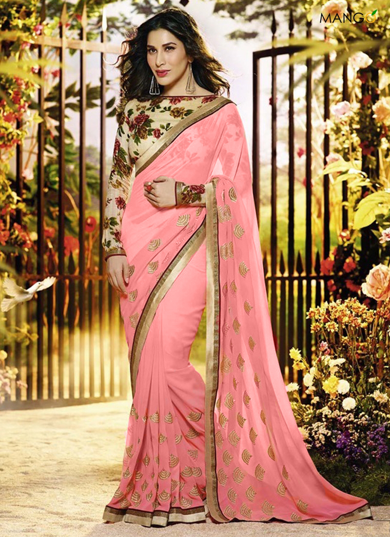 Buy Fashion Founder Designer Bollywood Sophie Pink Style Embroidered Saree Wifi Online In India