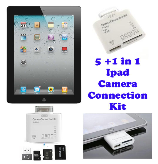 Gadget Hero's 5+1 In1 Camera Connection KIT For IPad IPad 2, For 5 Types Of Card + 1 USB Port.
