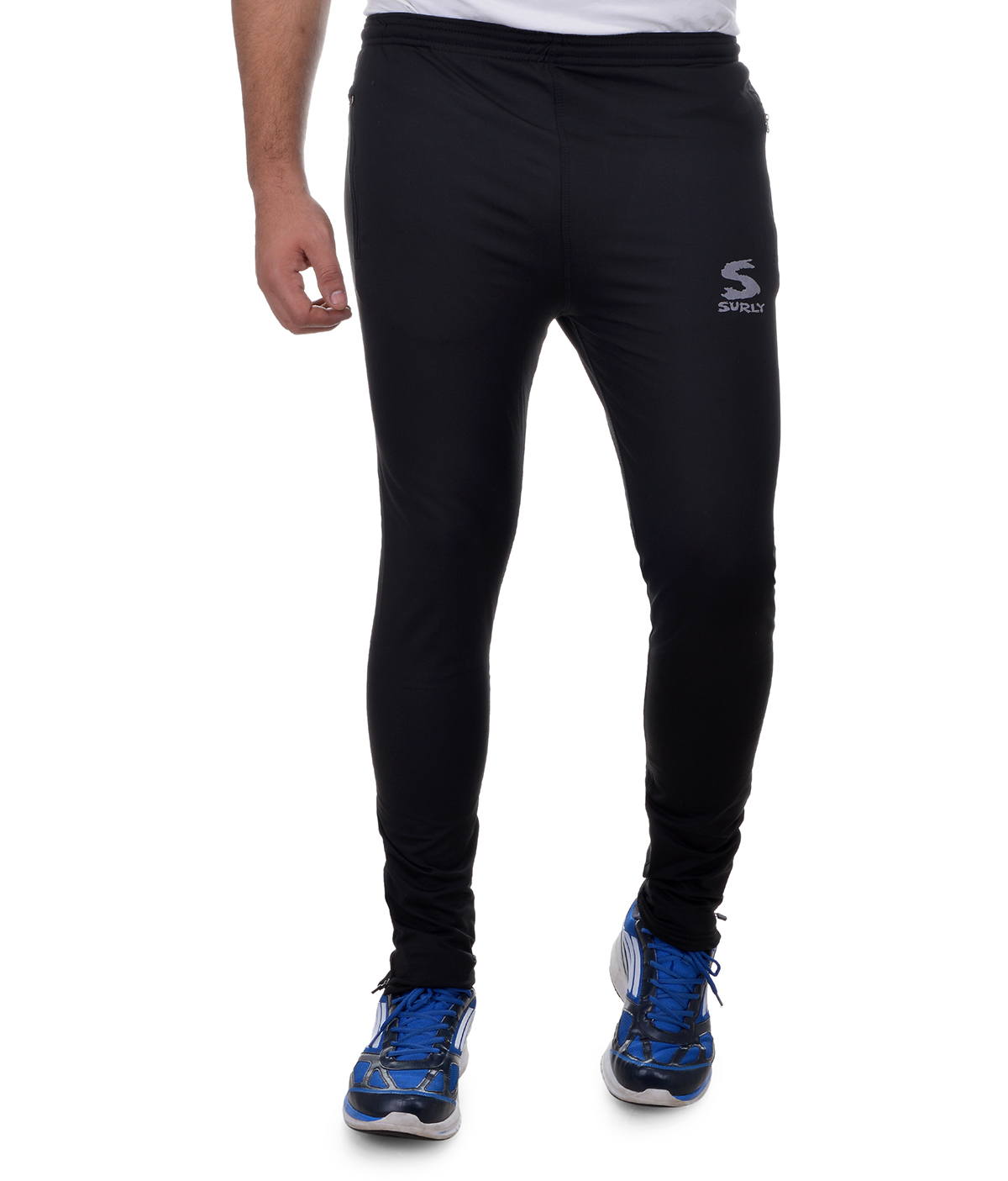 Buy Surly Mens Black Lycra Polyester Track Pant Online In