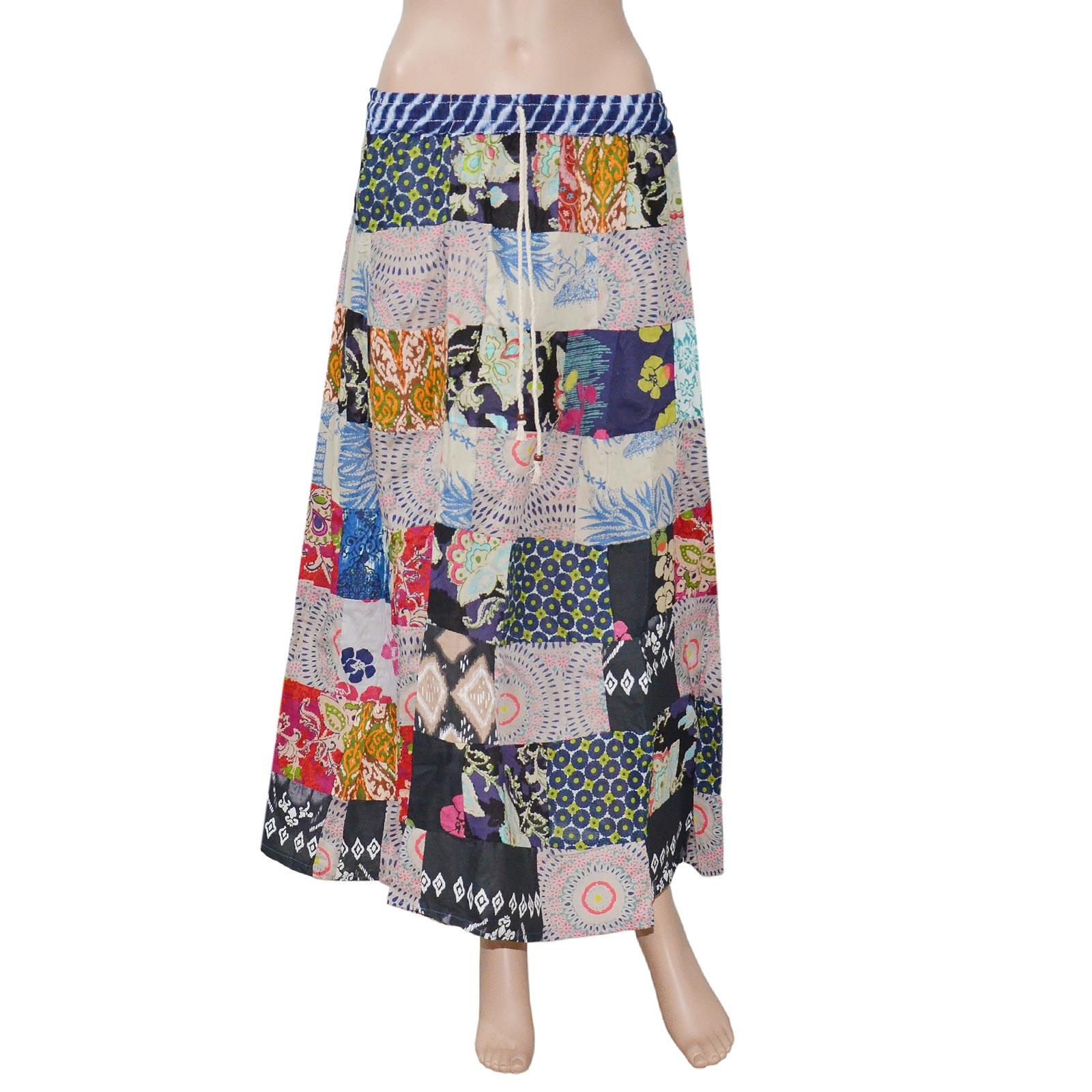 Pezzava: Women's Wear Cotton PatchWork Long Skirt Block Print SKT-PCL-A0089