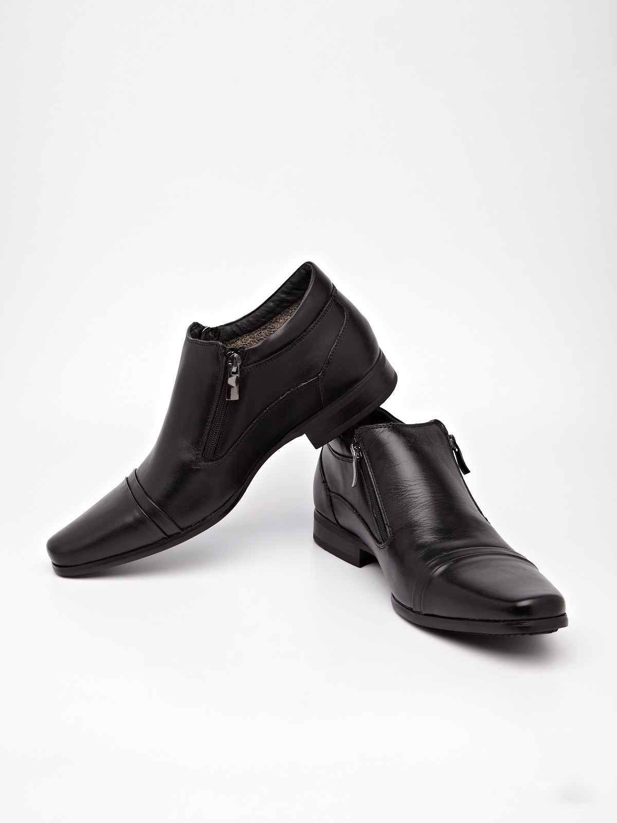 Cobblerz Leather Slip-ons With Zipper