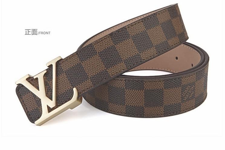 louis vuitton gold brown damier belt lv buckle waist 28 32