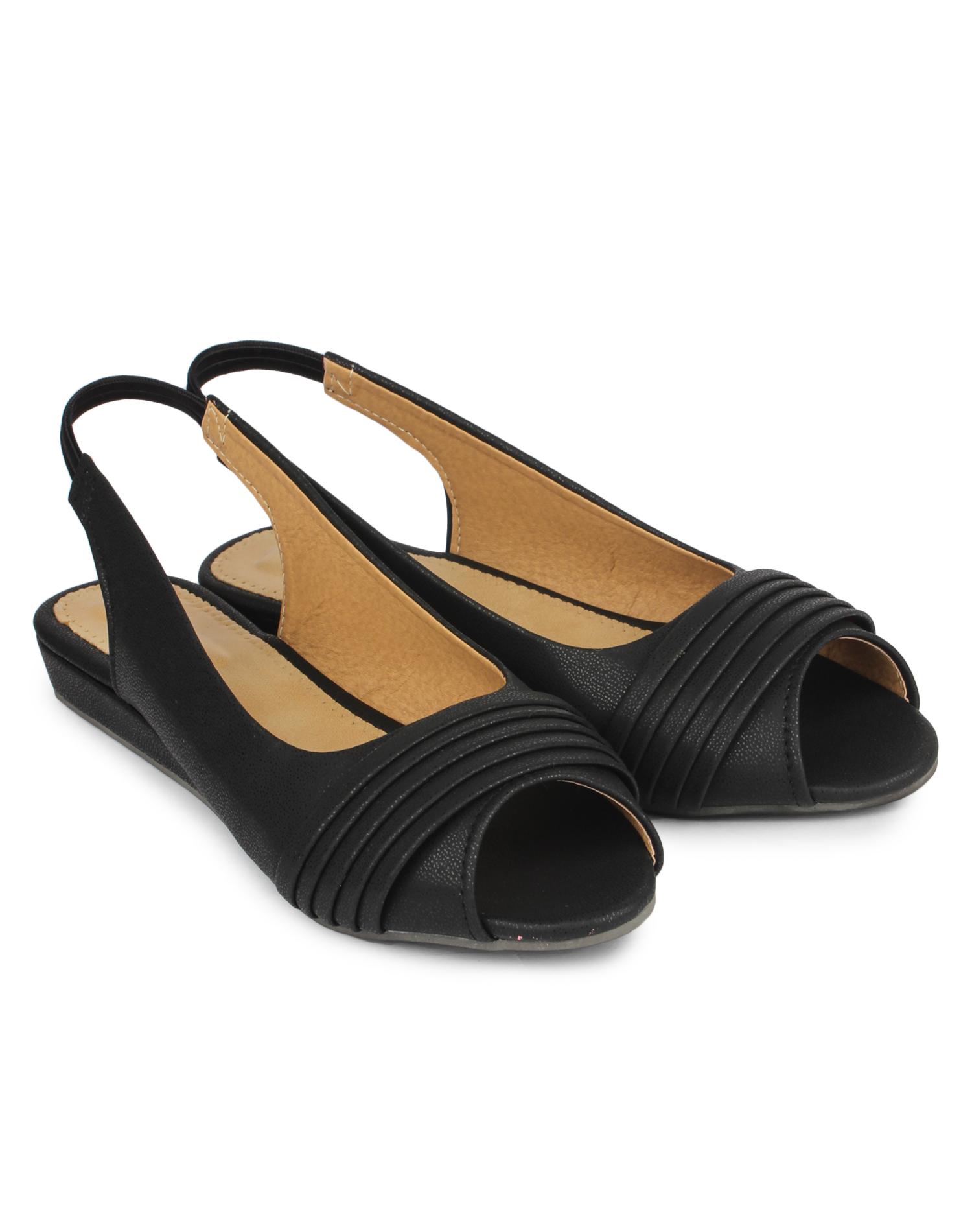 Do Bhai Women's Black Peep Toe Sandals