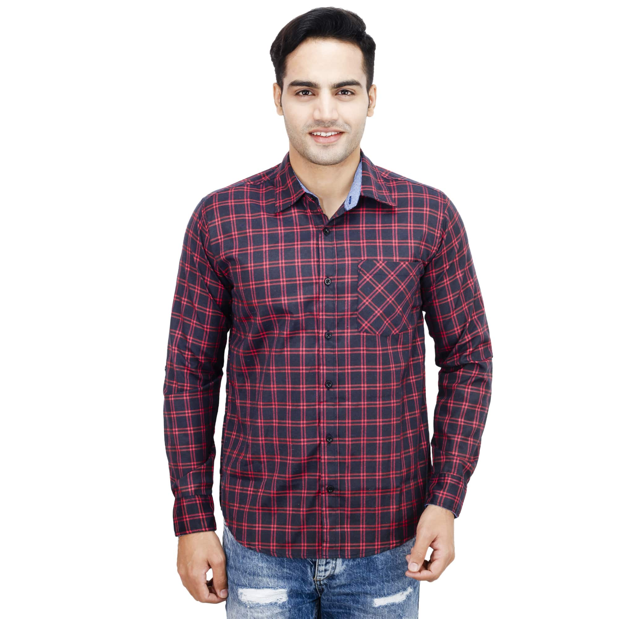 Buy Mens Roll Up Sleeve Checkered Shirt Online In India