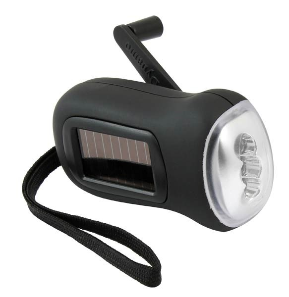 Led rechargeable torch dynamo hand crank solar powered flashlight black