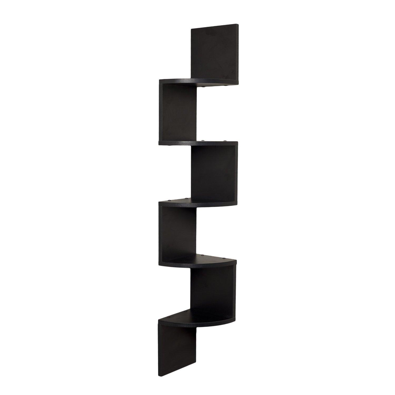 Corner Wall Shelf Unit Zigzag Shape 5 Curved Shelves Black
