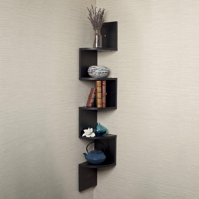 corner wall shelf unit zigzag shape curved shelves black bedroom furniture corner units