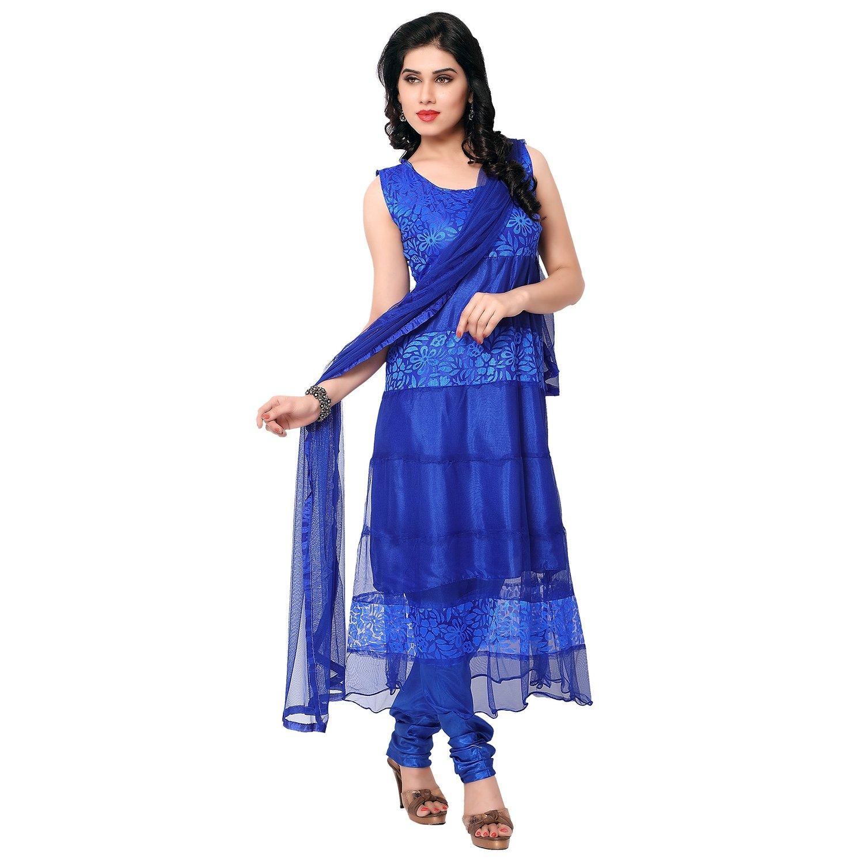 Blue Brasso Net Designer Dress Material