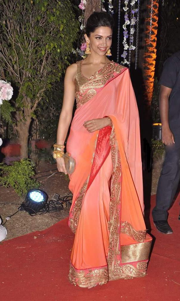 Bollywood Actress Deepika Padukone Orange Saree At Ahana