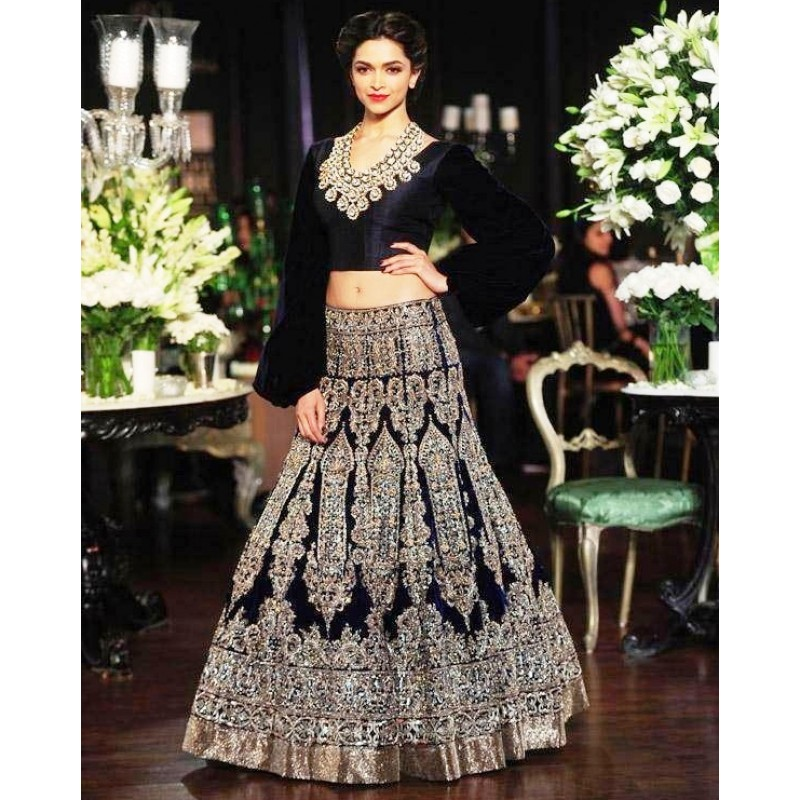 Deepika Padukone Bollywood Bridal Blue Lehenga