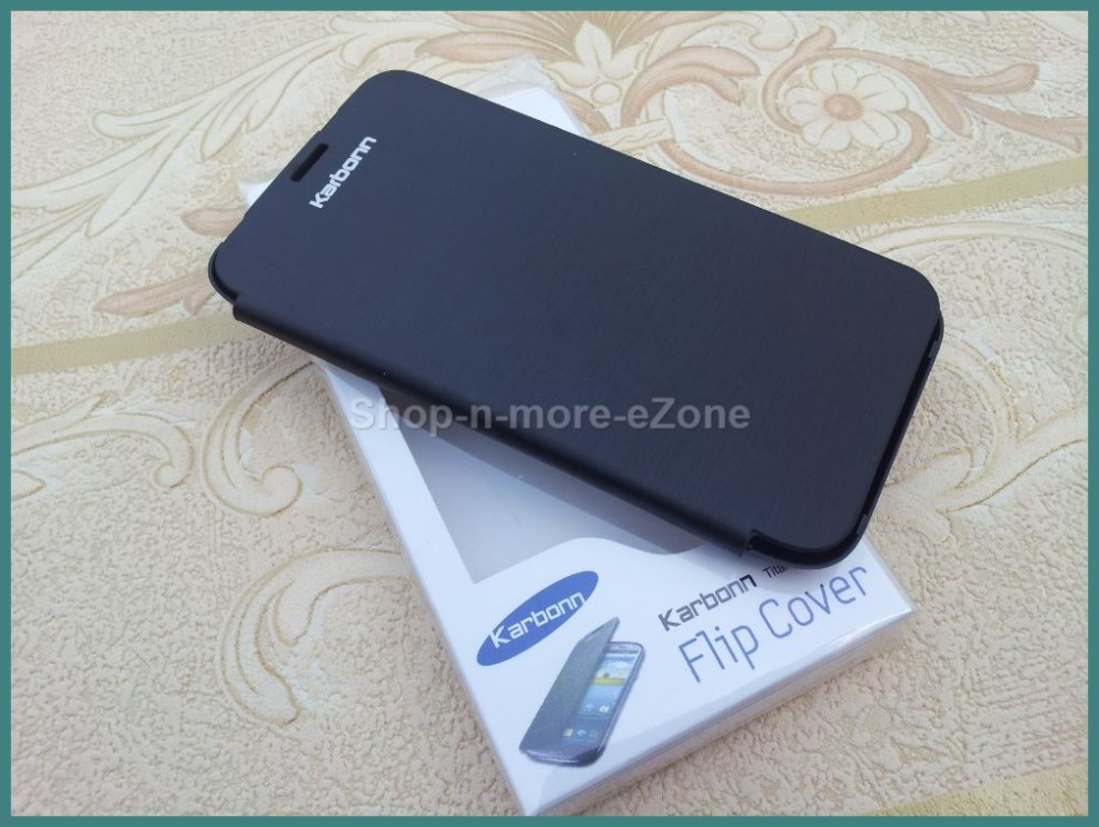 Karbonn S5 Titanium Black Leather Flip Case Cover Battery ...