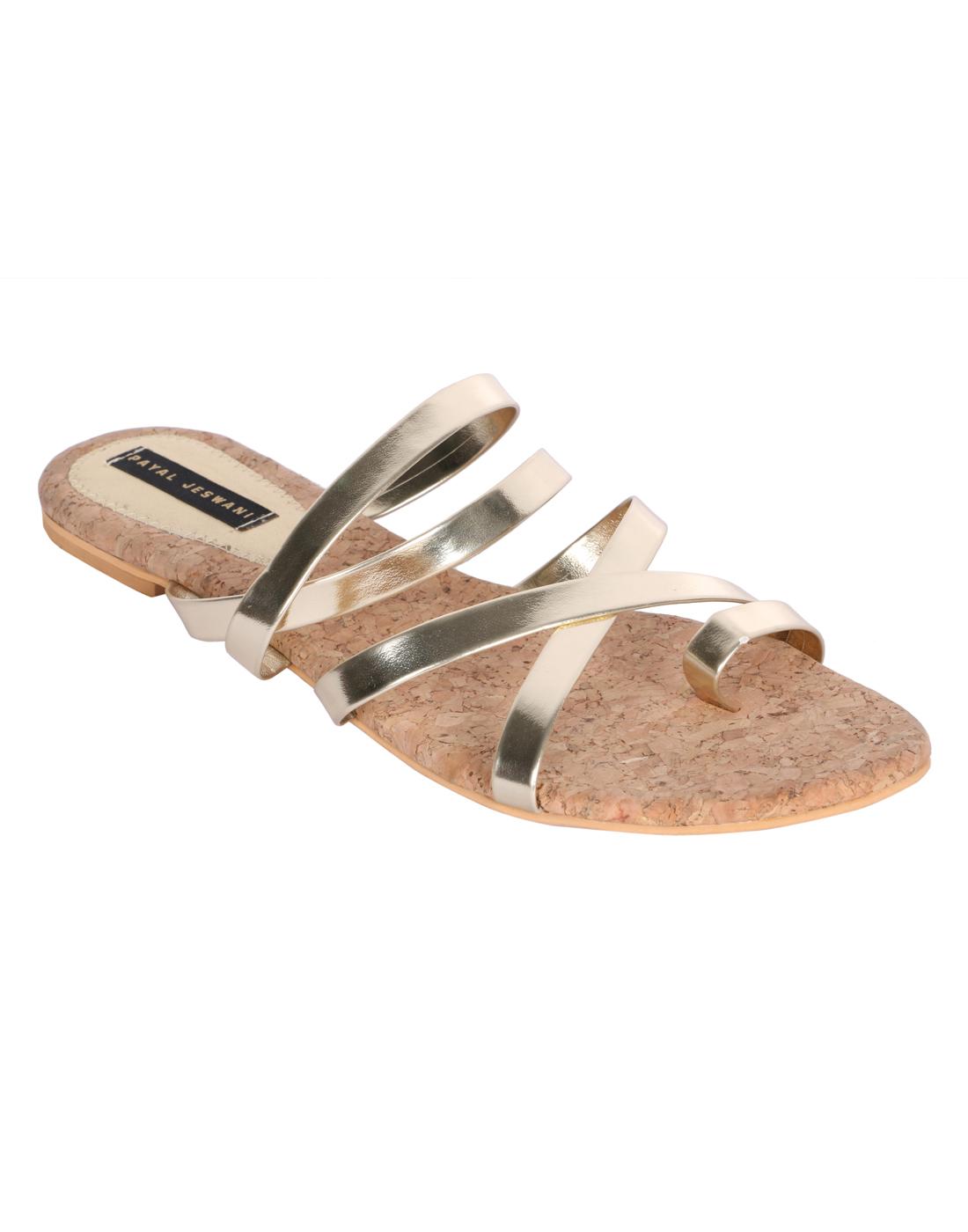 PAYAL JESWANI Gold Colour Casual Leather Flat Sandal