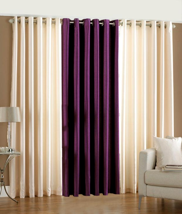 BSB Trendz Plain Window curtain Set Of 3