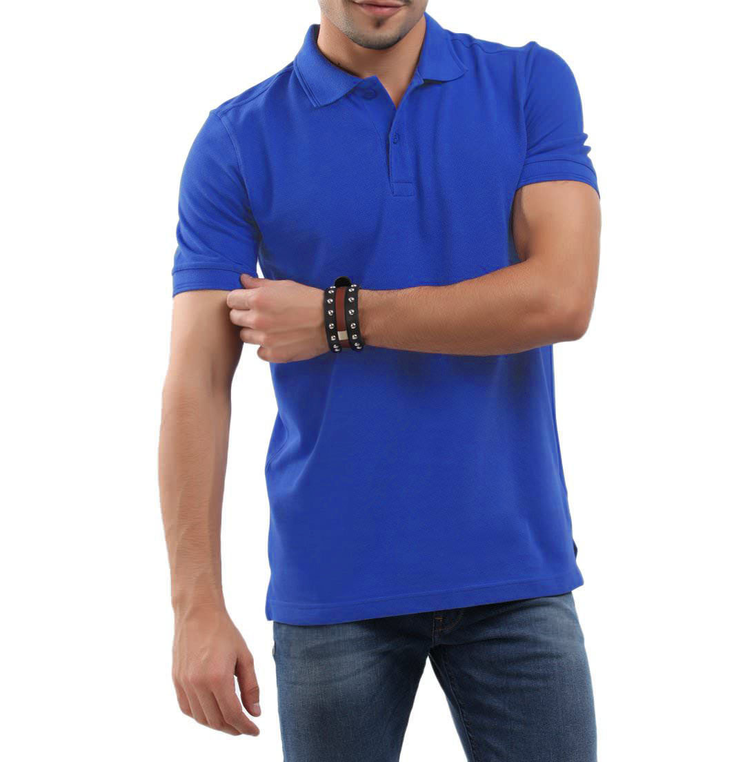 Royal Blue And Red Collar T Shirt Combo