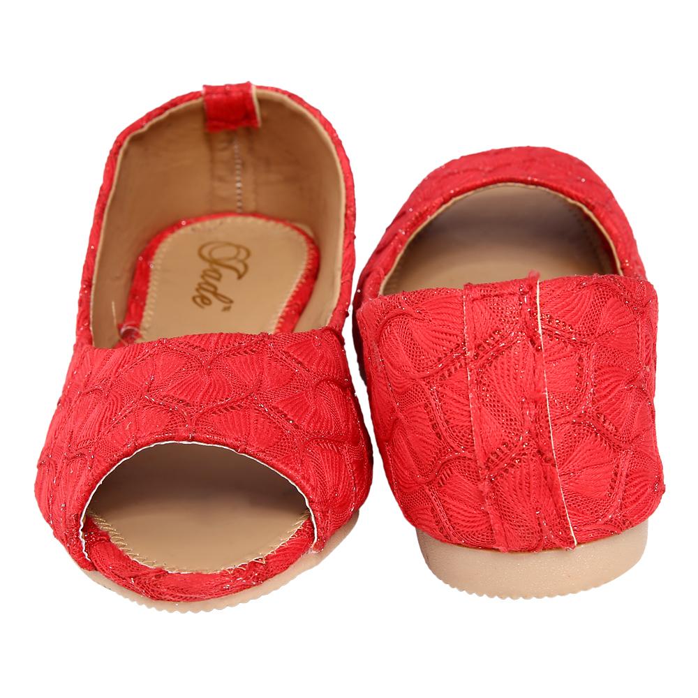 Jade Red Peep Toe Casual Shoe