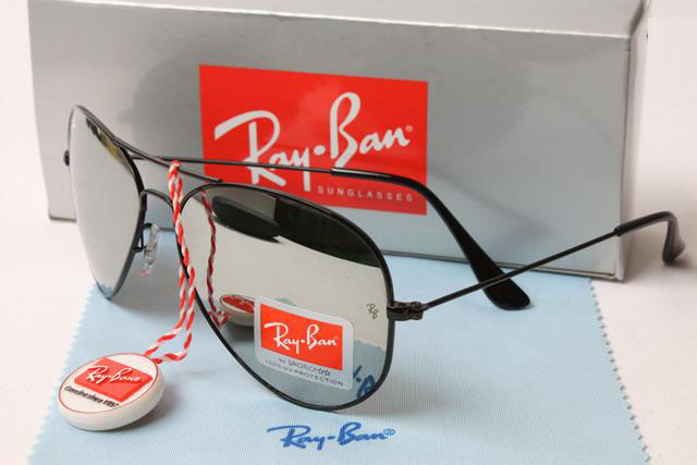 black mirrored ray ban aviators  Ray Ban 3025 Aviator - Silver Glass Black Frame And Mirror Lenses ...