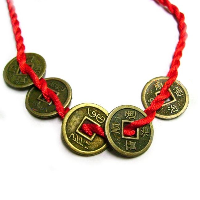 Feng Shui Bracelet with 5 Chinese Coins symbol of wealth