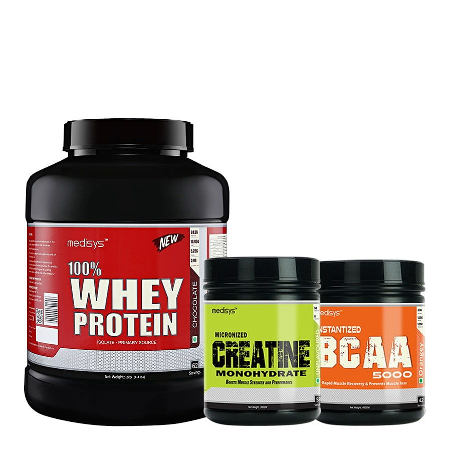 Medisys Bodybuilding Combo Whey Protein Chocolate- 2Kg+Creatine  BCAA