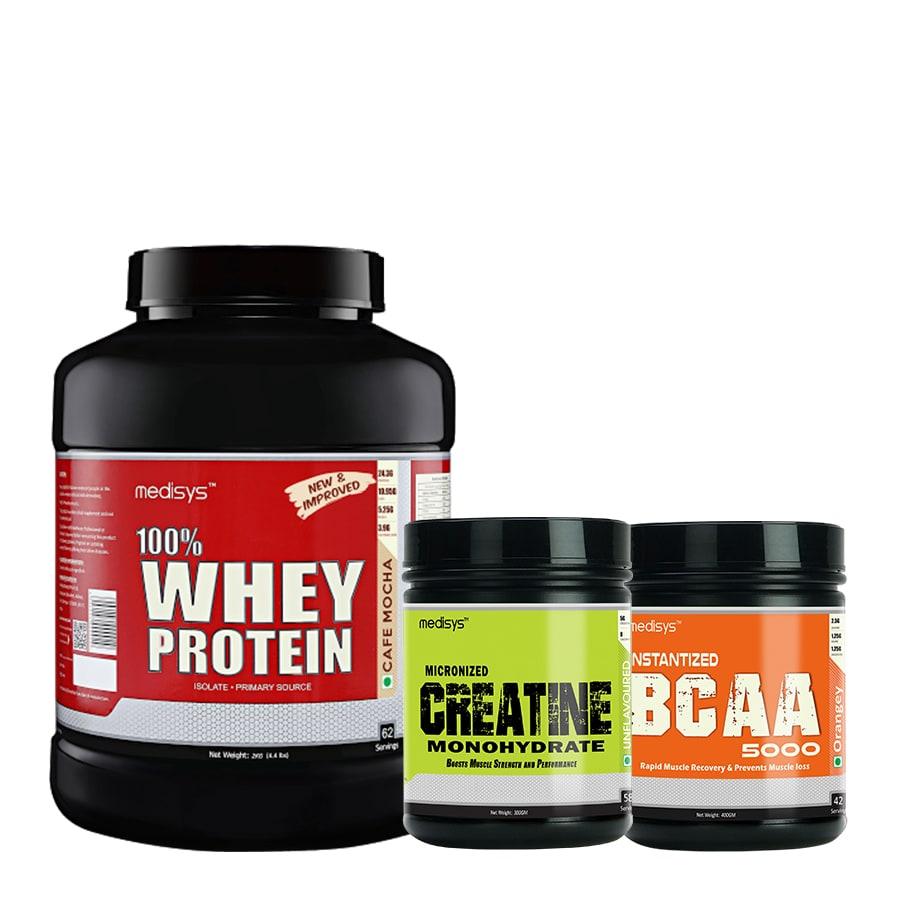 Medisys Bodybuilding Combo Whey Protein Cafe Mocha-2Kg+Creatine  BCAA